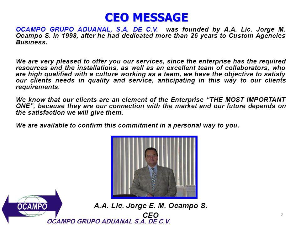 CEO MESSAGE A.A. Lic. Jorge E. M. Ocampo S. CEO
