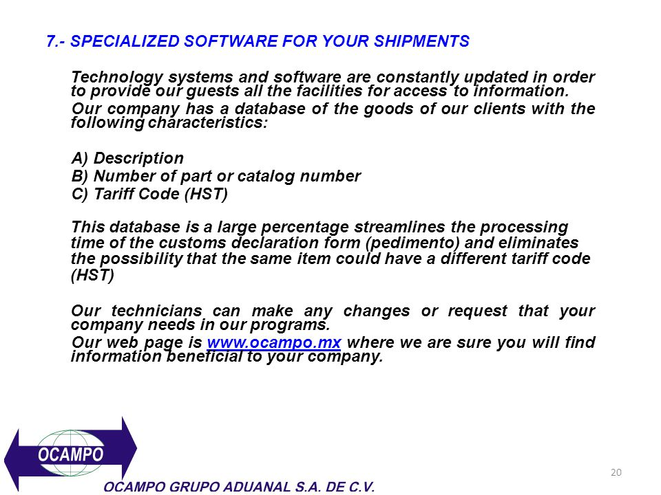 7.- SPECIALIZED SOFTWARE FOR YOUR SHIPMENTS