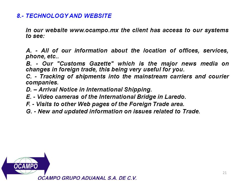 8.- TECHNOLOGY AND WEBSITE