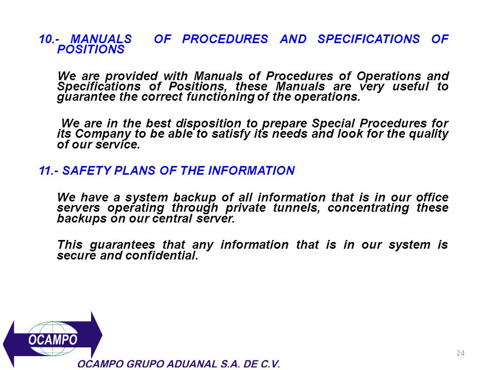 10.- MANUALS OF PROCEDURES AND SPECIFICATIONS OF POSITIONS