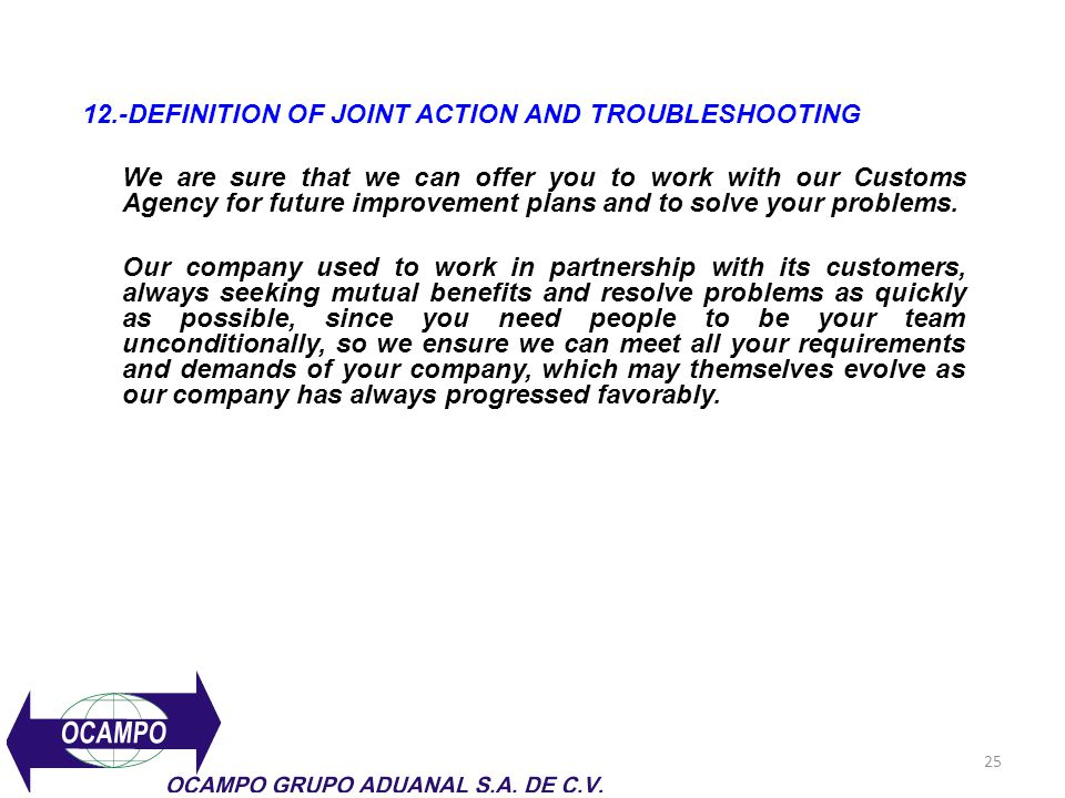 12.-DEFINITION OF JOINT ACTION AND TROUBLESHOOTING