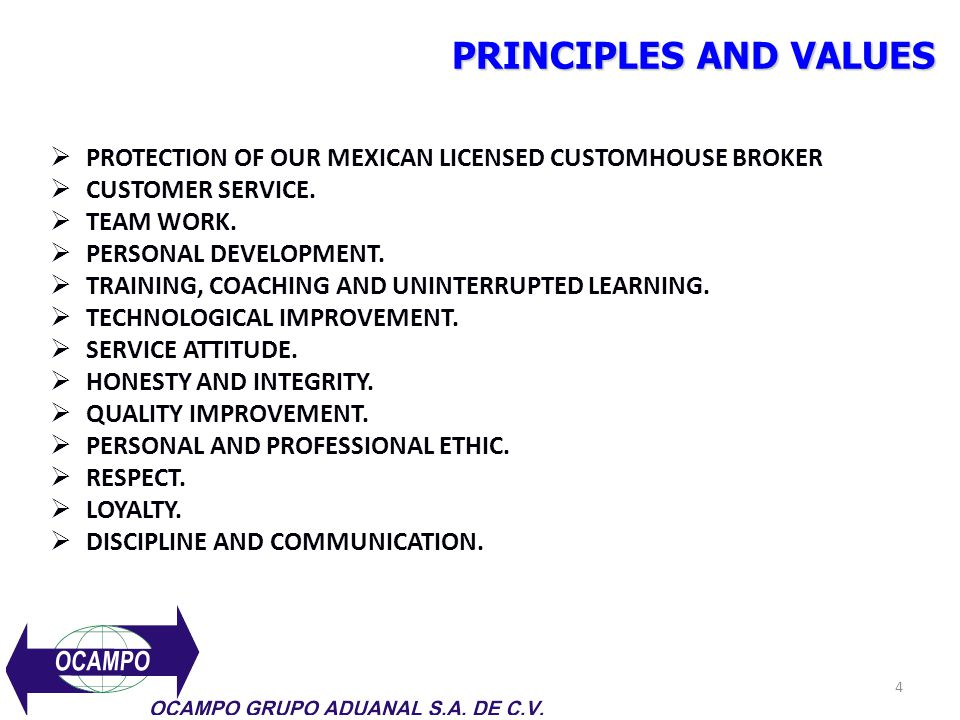 PRINCIPLES AND VALUES PROTECTION OF OUR MEXICAN LICENSED CUSTOMHOUSE BROKER. CUSTOMER SERVICE. TEAM WORK.
