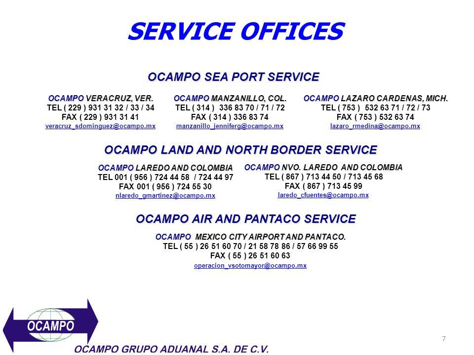 SERVICE OFFICES OCAMPO SEA PORT SERVICE