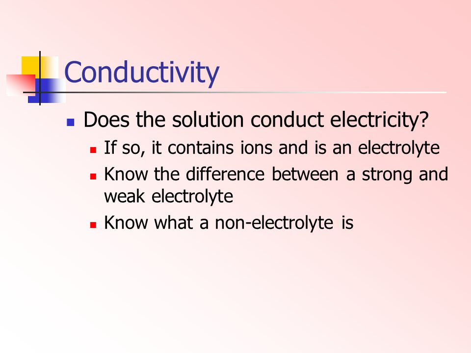 Conductivity Does the solution conduct electricity