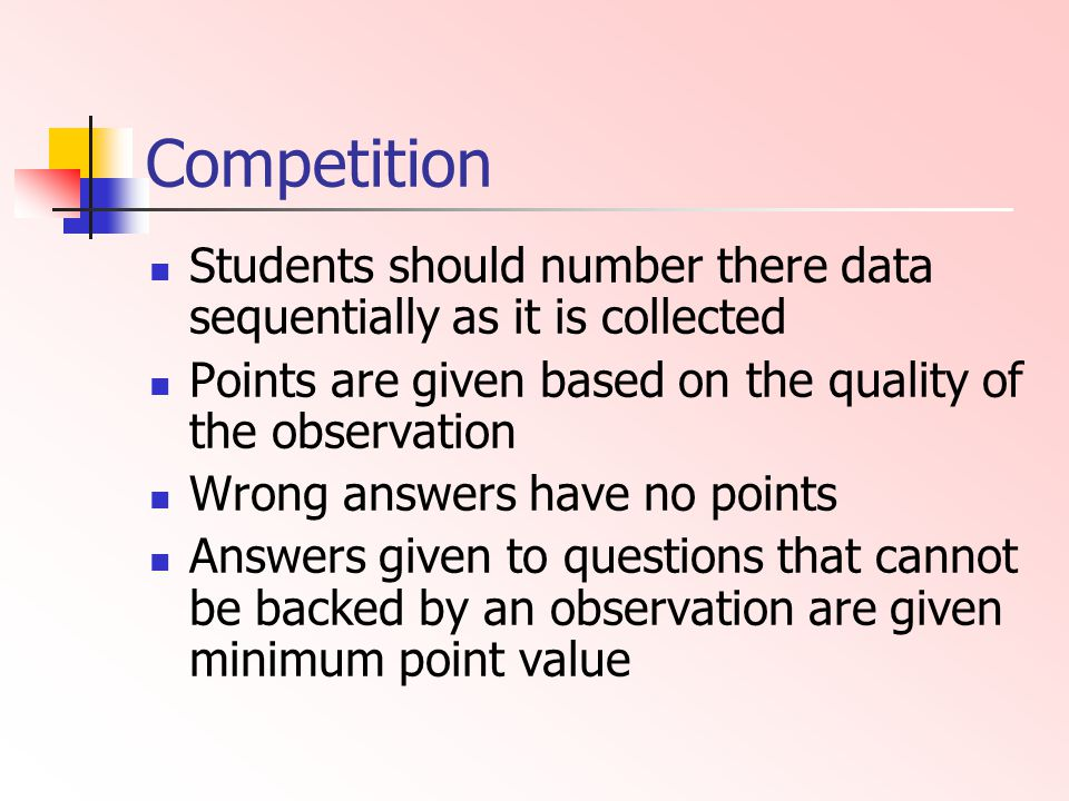 Competition Students should number there data sequentially as it is collected. Points are given based on the quality of the observation.