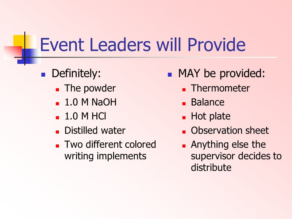 Event Leaders will Provide