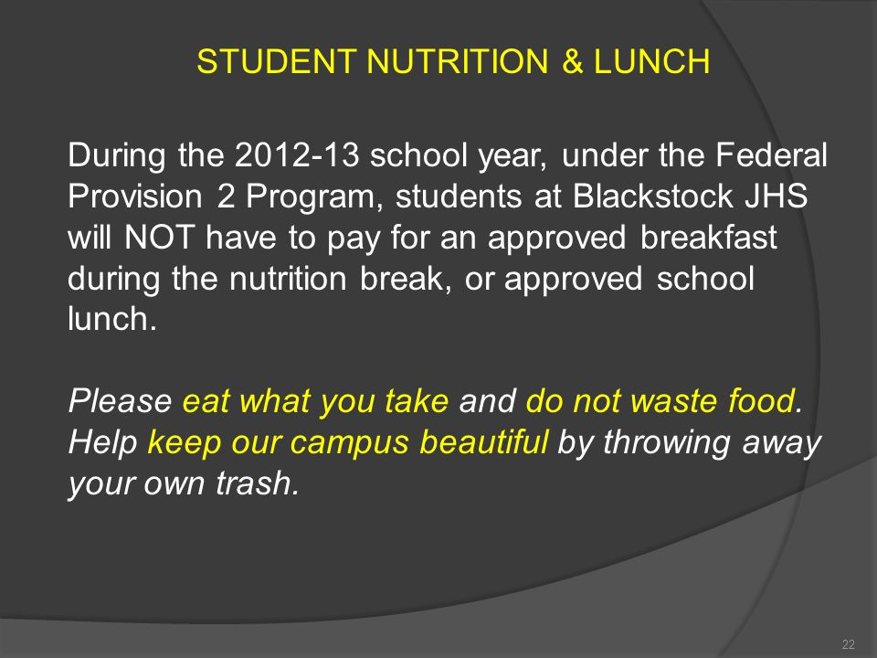 STUDENT NUTRITION & LUNCH