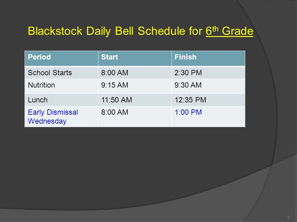 Blackstock Daily Bell Schedule for 6th Grade
