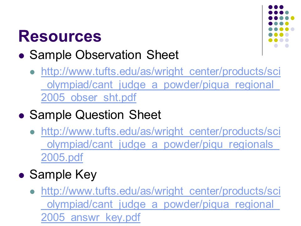 Resources Sample Observation Sheet Sample Question Sheet Sample Key