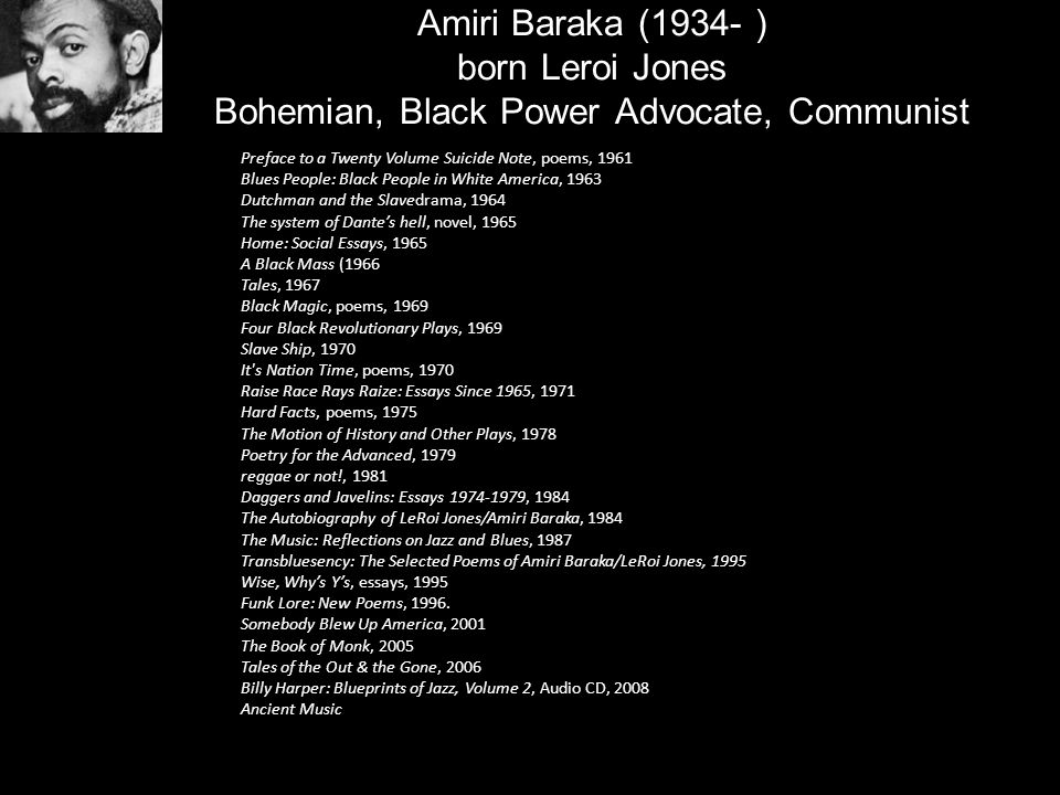 Amiri Baraka (1934- ) born Leroi Jones Bohemian, Black Power Advocate, Communist