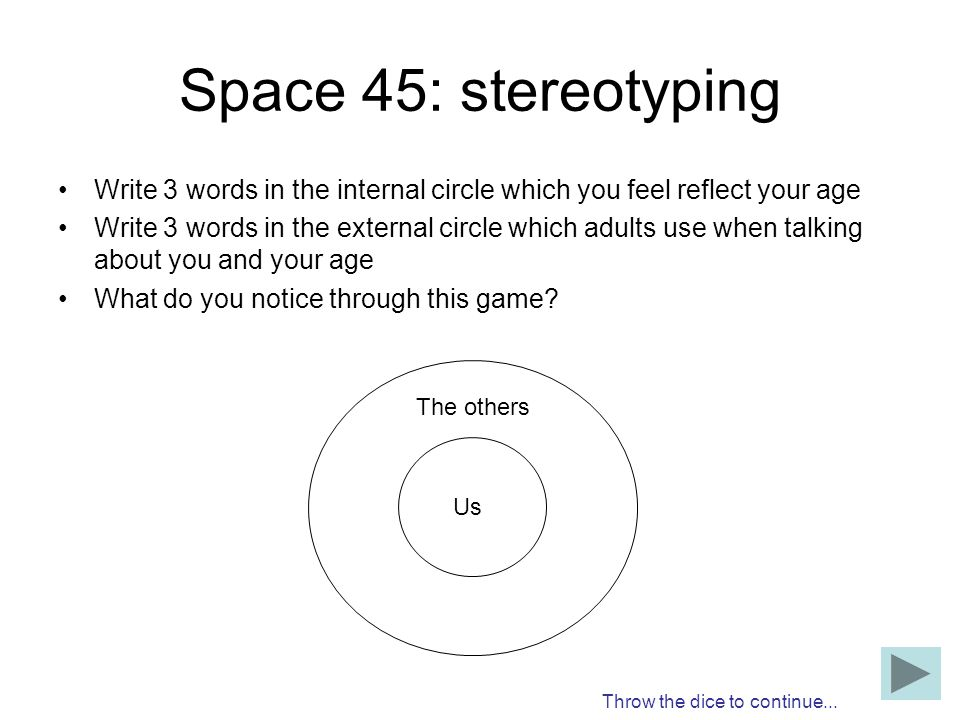 Space 45: stereotyping Write 3 words in the internal circle which you feel reflect your age.