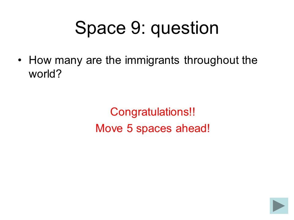 Space 9: question How many are the immigrants throughout the world