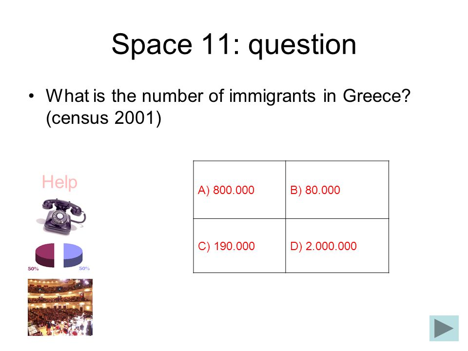 Space 11: question What is the number of immigrants in Greece (census 2001) Α) 800.000. Β) 80.000.