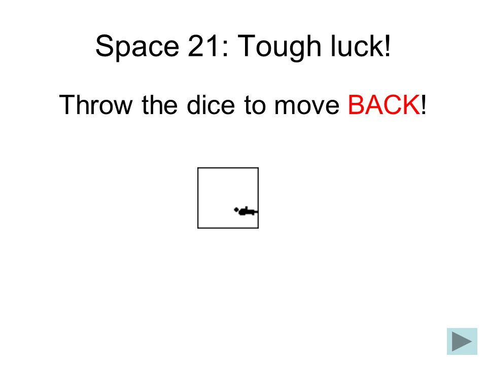 Throw the dice to move BACK!