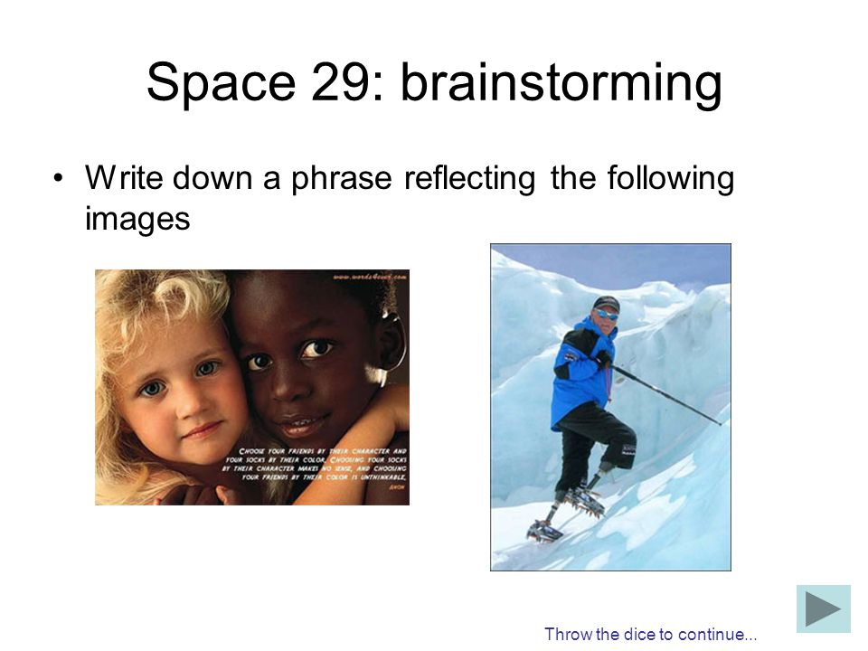 Space 29: brainstorming Write down a phrase reflecting the following images.