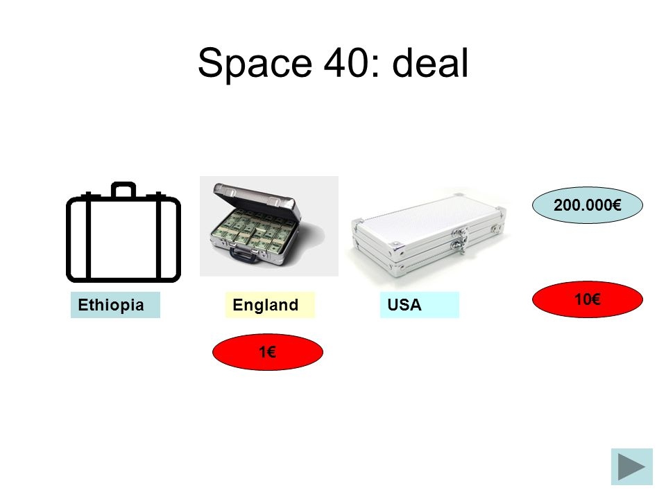 Space 40: deal 200.000€ 10€ Ethiopia England USA 1€