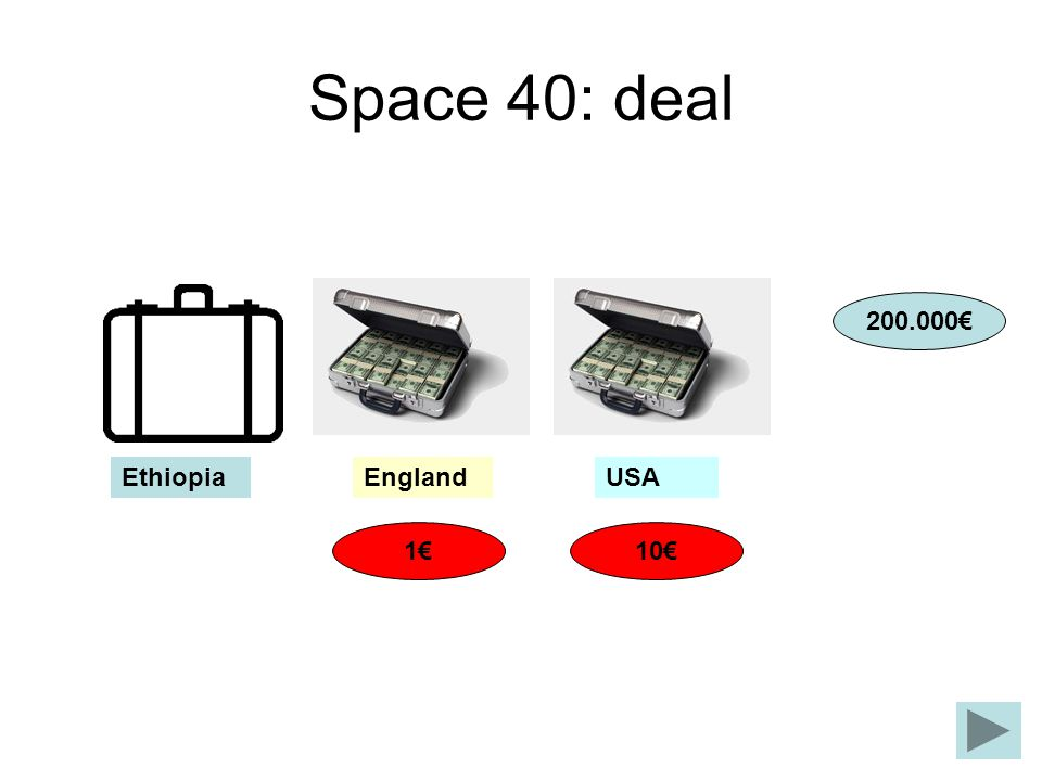 Space 40: deal 200.000€ Ethiopia England USA 1€ 10€