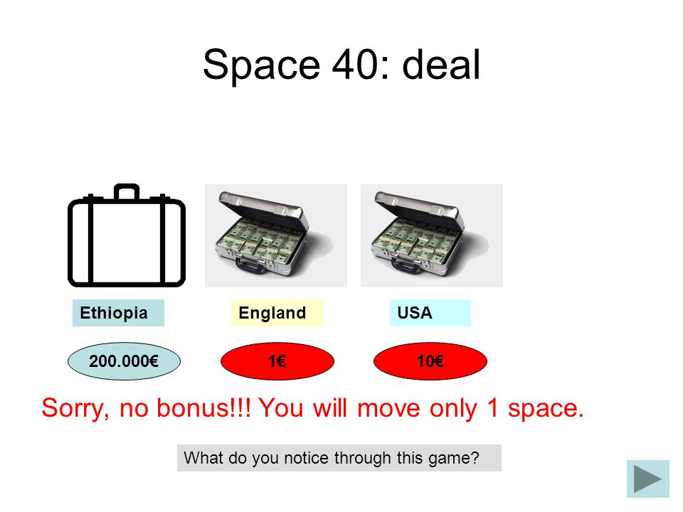 Space 40: deal Sorry, no bonus!!! You will move only 1 space. Ethiopia