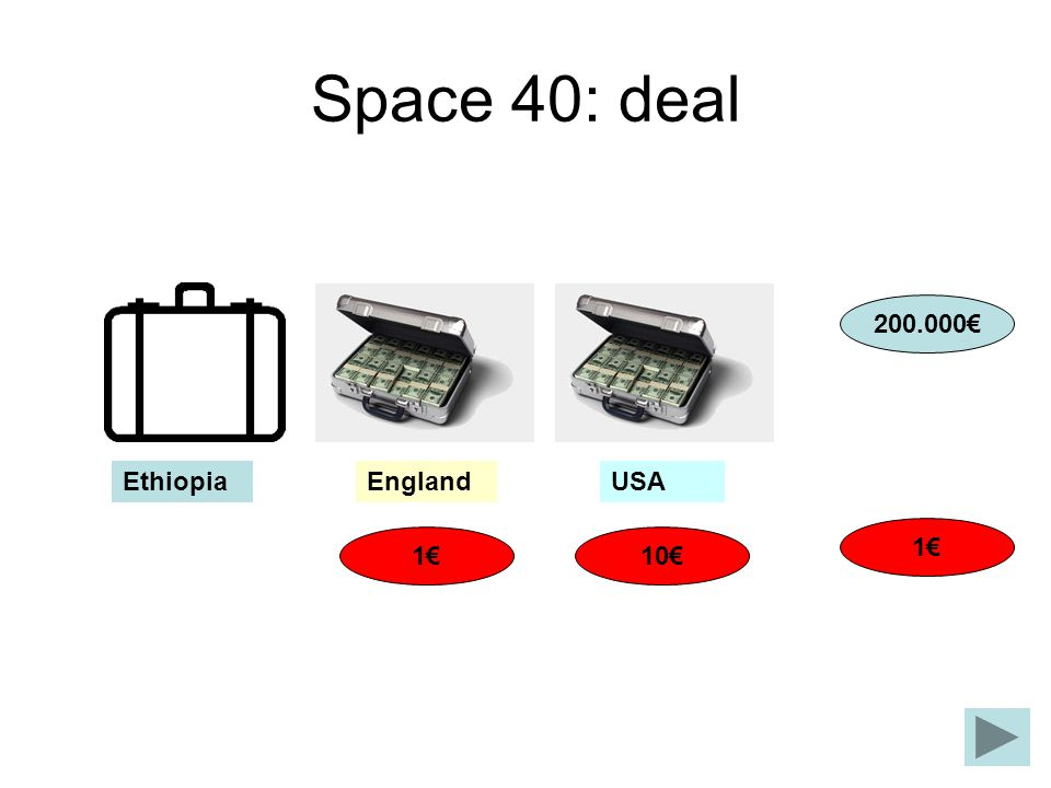 Space 40: deal 200.000€ Ethiopia England USA 1€ 1€ 10€