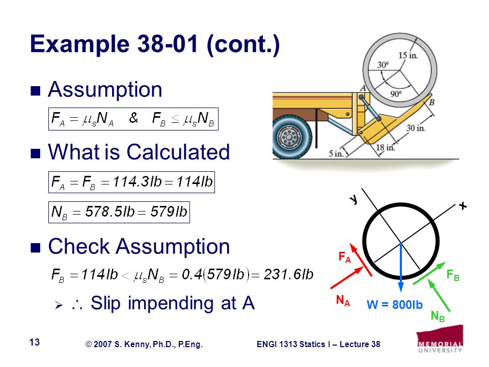 Example 38-01 (cont.) Assumption What is Calculated Check Assumption