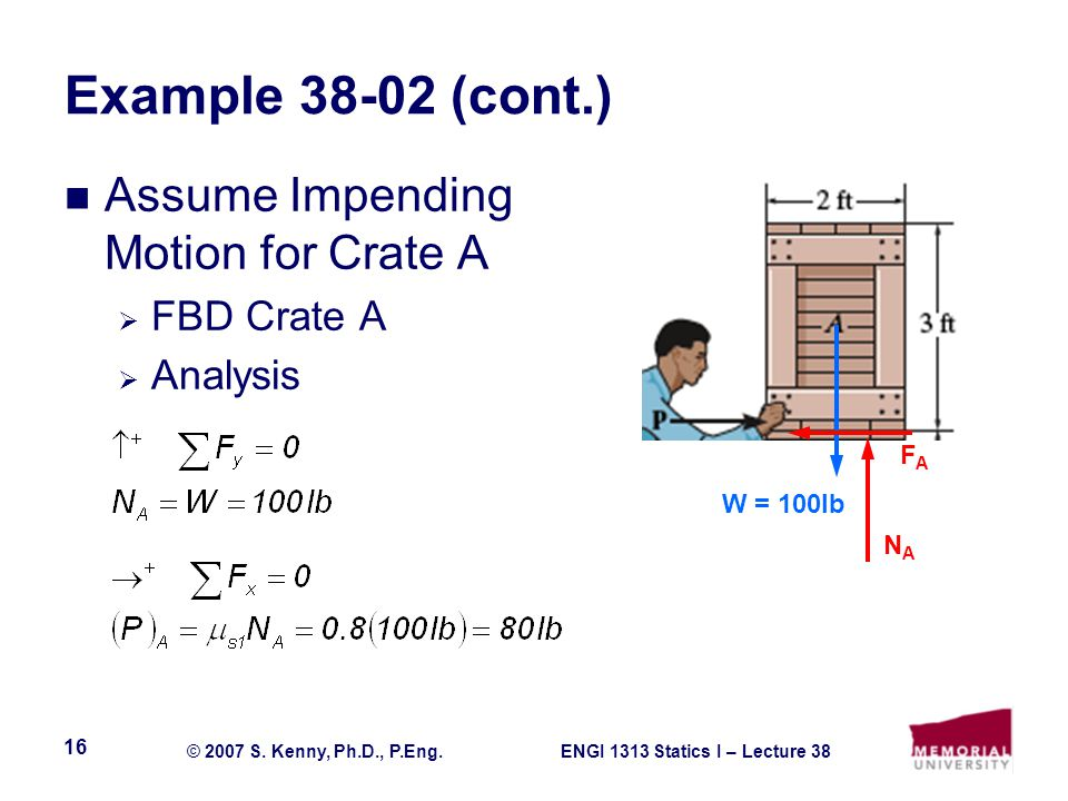 Example 38-02 (cont.) Assume Impending Motion for Crate A FBD Crate A