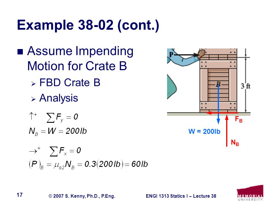 Example 38-02 (cont.) Assume Impending Motion for Crate B FBD Crate B