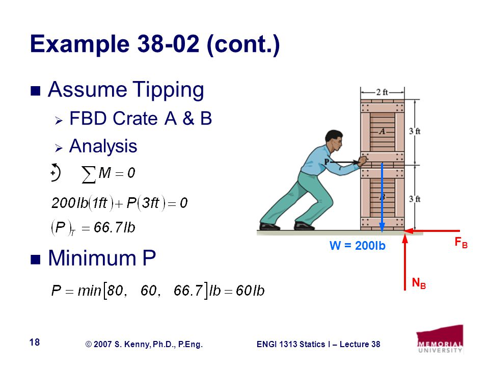 Example 38-02 (cont.) Assume Tipping Minimum P FBD Crate A & B