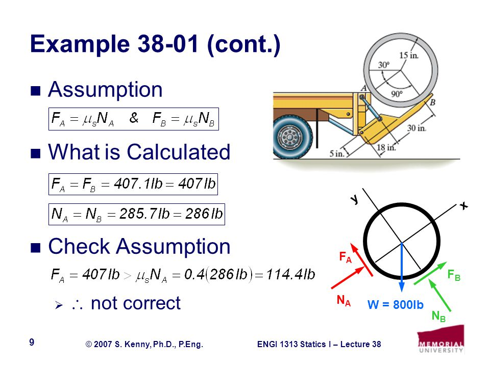Example (cont.) Assumption What is Calculated Check Assumption