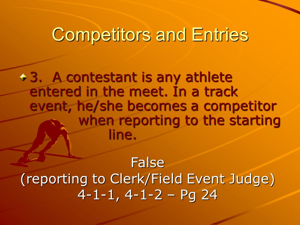 Competitors and Entries