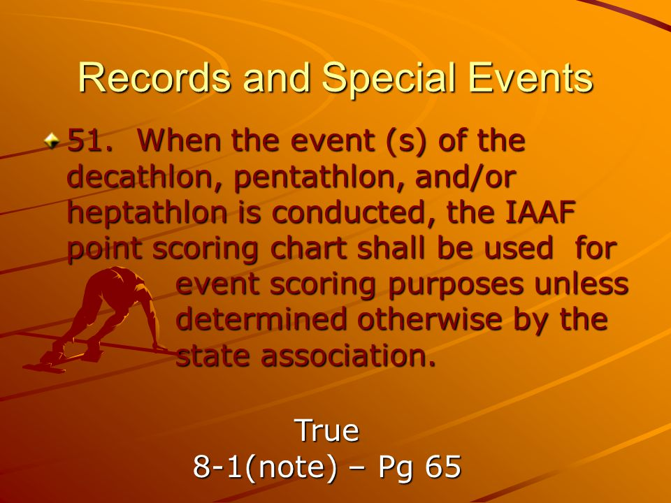 Records and Special Events