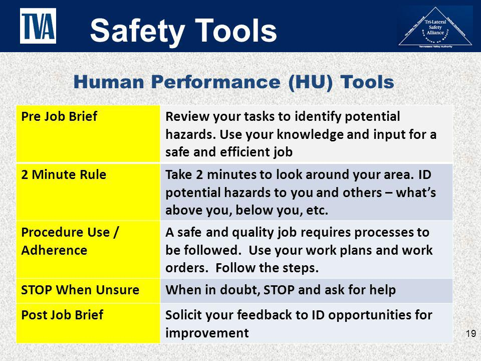 Safety Tools Human Performance (HU) Tools Pre Job Brief