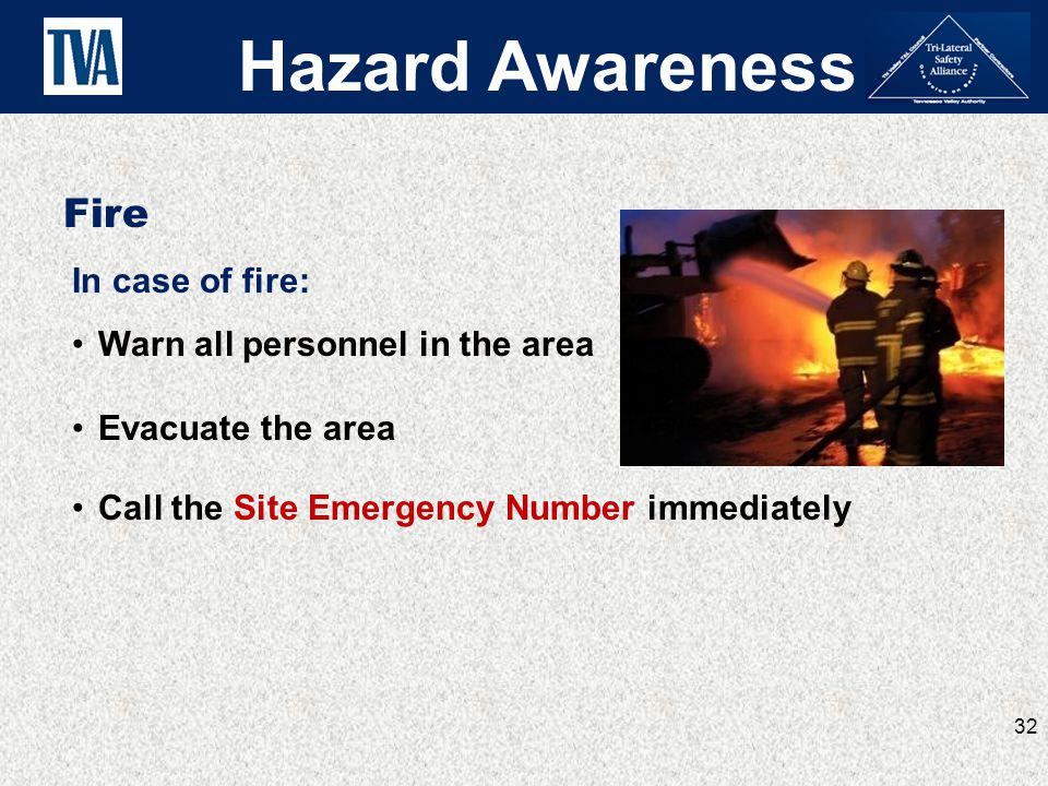 Hazard Awareness Fire In case of fire: Warn all personnel in the area