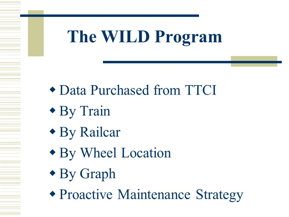The WILD Program Data Purchased from TTCI By Train By Railcar