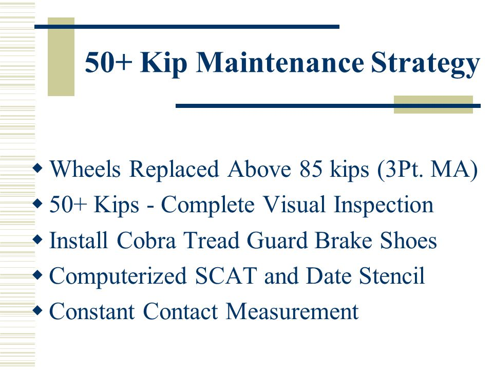 50+ Kip Maintenance Strategy