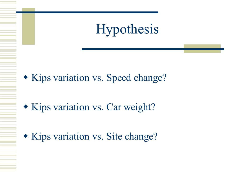 Hypothesis Kips variation vs. Speed change