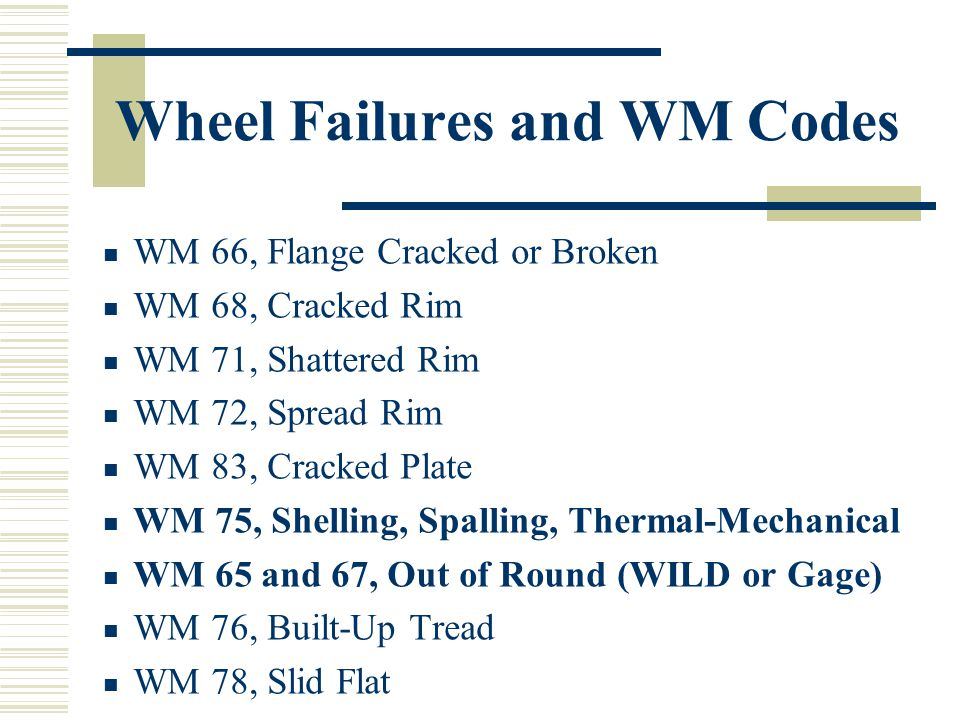 Wheel Failures and WM Codes