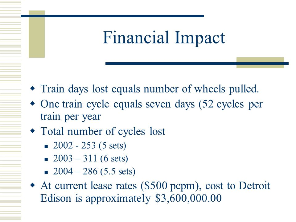 Financial Impact Train days lost equals number of wheels pulled.