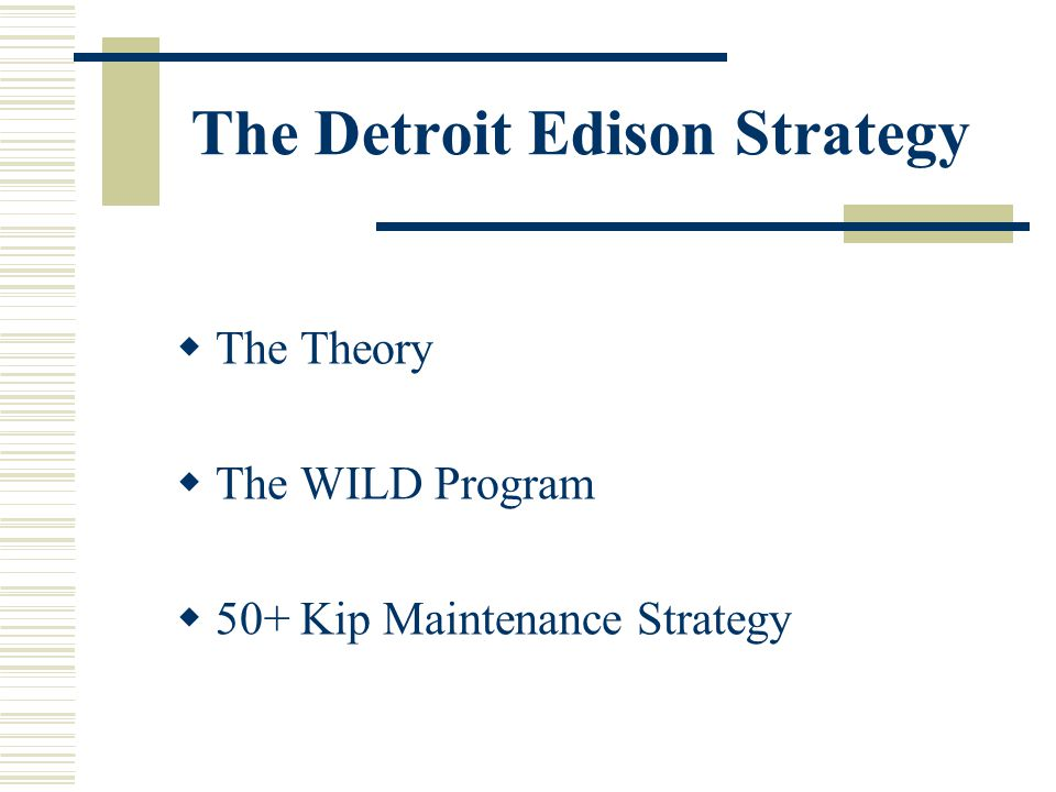 The Detroit Edison Strategy