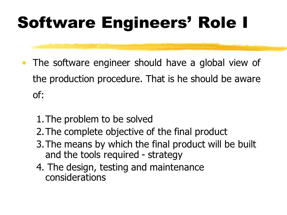 Software Engineers' Role I