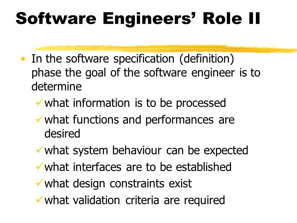Software Engineers' Role II