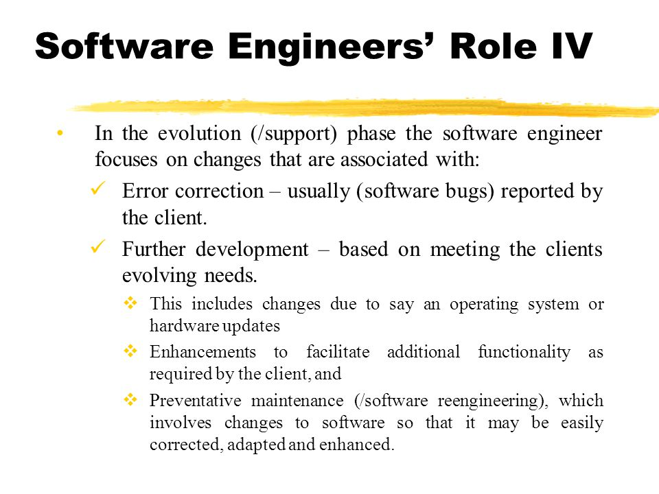 Software Engineers' Role IV