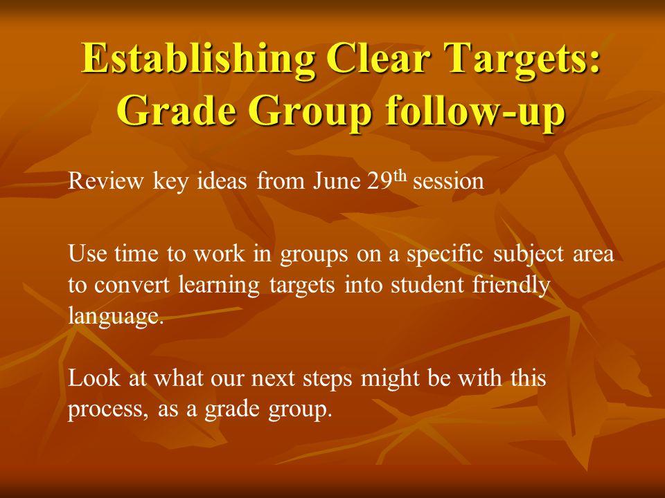 Establishing Clear Targets: Grade Group follow-up