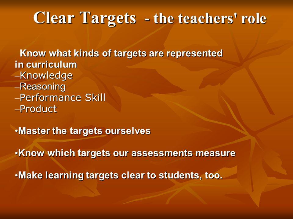 Clear Targets - the teachers role