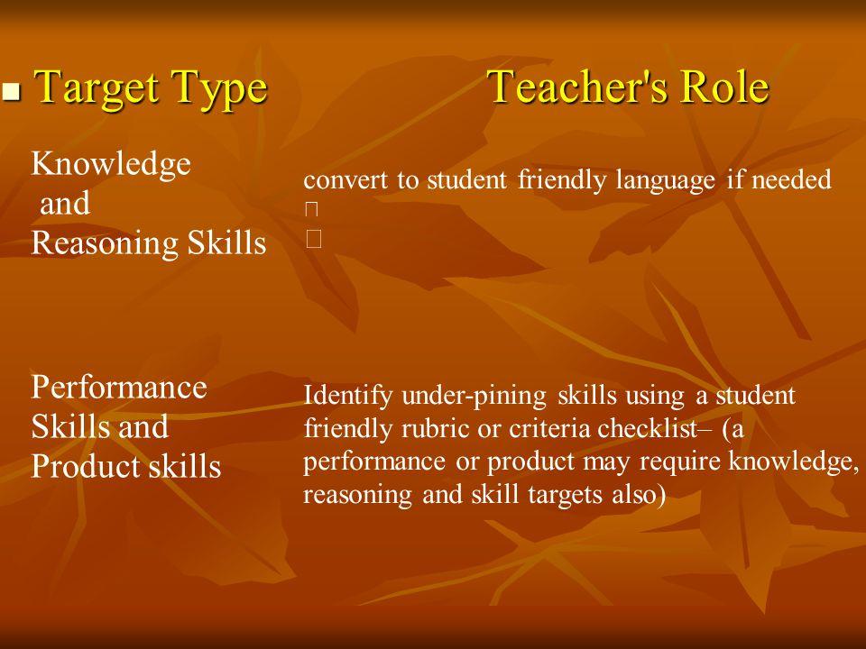 Target Type Teacher s Role