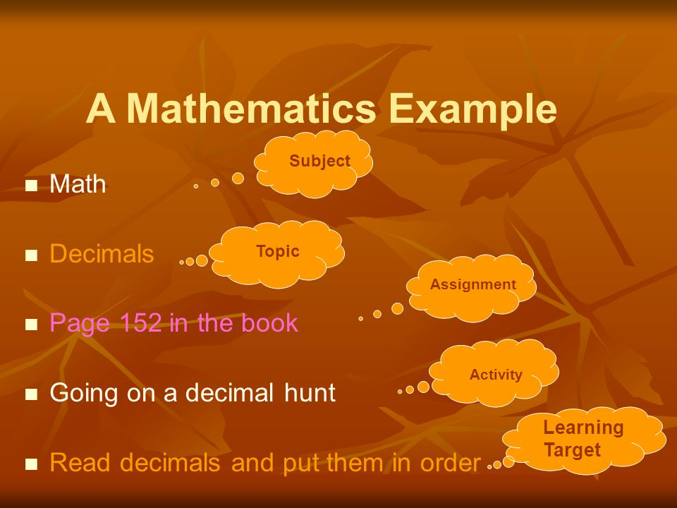A Mathematics Example Math Decimals Page 152 in the book