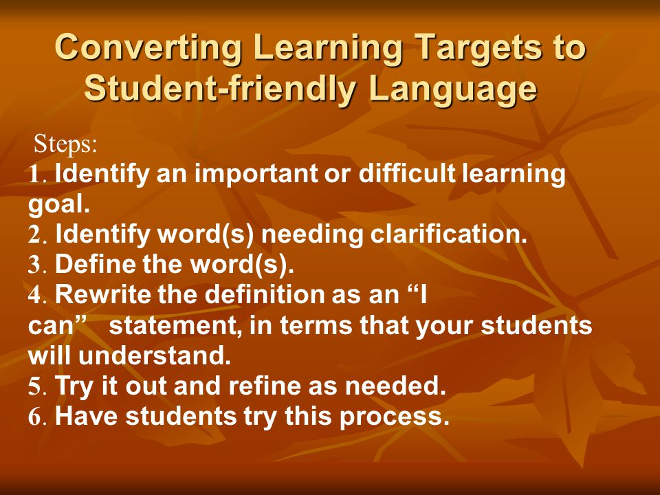 Converting Learning Targets to Student-friendly Language