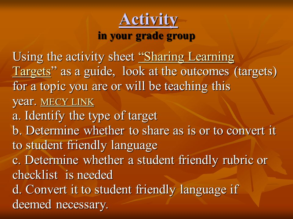 Activity in your grade group
