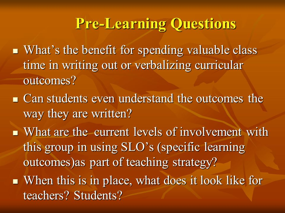 Pre-Learning Questions
