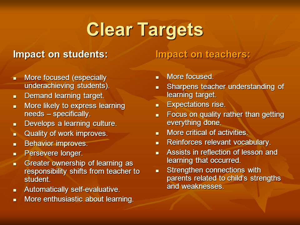 Clear Targets Impact on students: Impact on teachers: