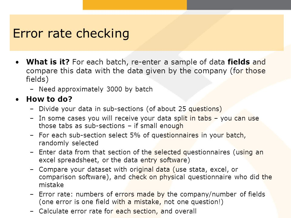 Error rate checking